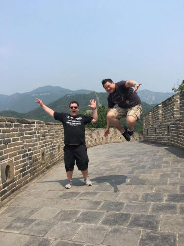 Jumping on the Great wall of China, Beijing