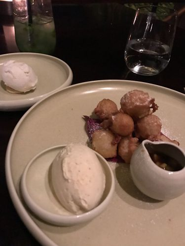 Banana and jack fruit fritter with vanilla ice-cream