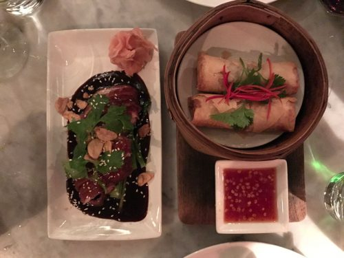 Pork and Prawns Spring Rolls and Peking Duck