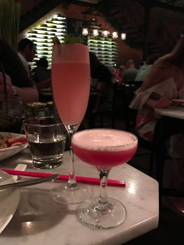 Tea Bellini and Clover Club cocktails. The perfect combination for 'The Tall and Short of it'