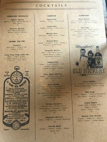 The Bistrot Cocktail Menu