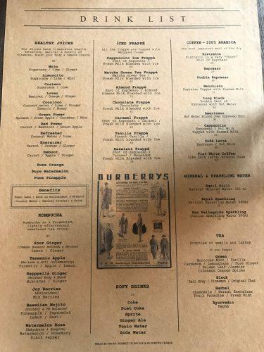 The Bistrot Drinks List