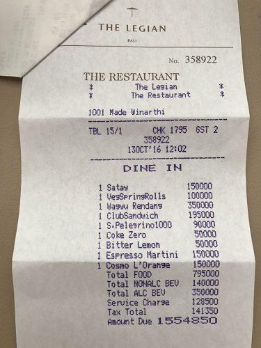 The Restaurant The Legian Bali lunch receipt