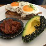 Kodama Coffee Fried eggs on sourdough with homemade BBQ and Avocado