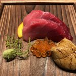 8-day aged Blue Fin Tuna sashimi with St Helens (Tasmania) long-spiced sea urchin (uni): Close up