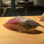 Bonito sushi with salt flakes